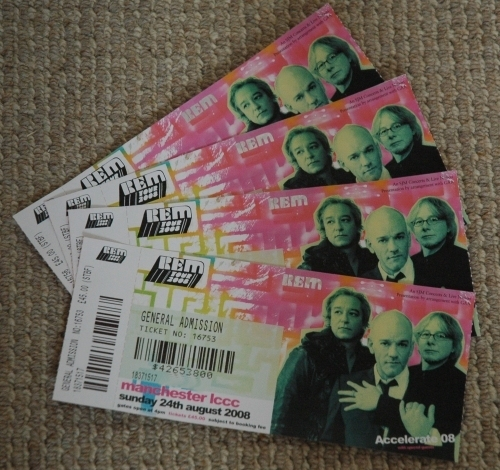The R.E.M. tickets were £45 each + £5 handling fee! Pretty expensive, but they don't tour very often, so we had to go. Manchester (2008)
