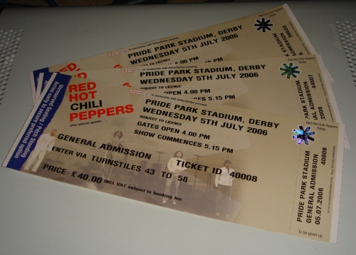 The all important tickets, photographed on top of a Xbox 360, Derby (2006)