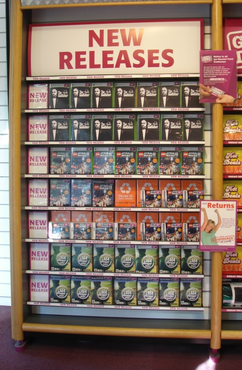 On the new releases shelf in GAME, Nottingham (2006)