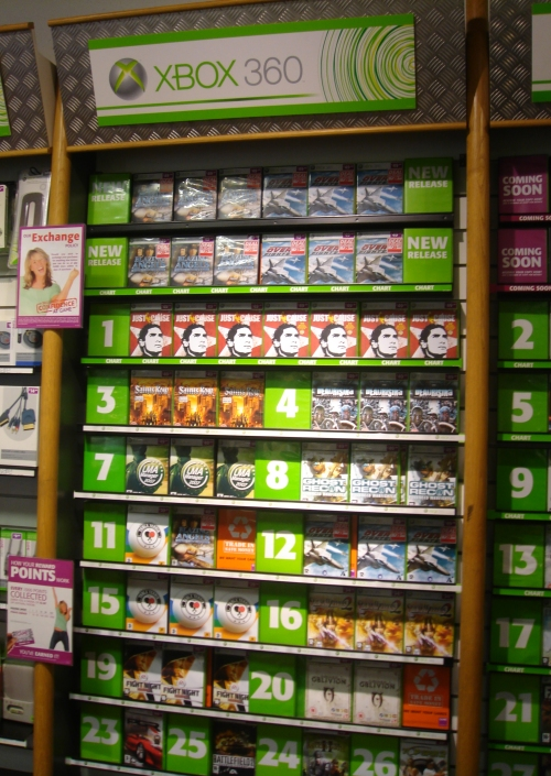 Number 7 in the charts on Xbox 360 in GAME, Nottingham (2006)