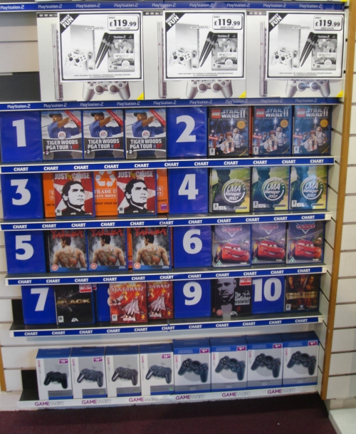 Number 4 in the charts on PS2 in GAME, Nottingham (2006)