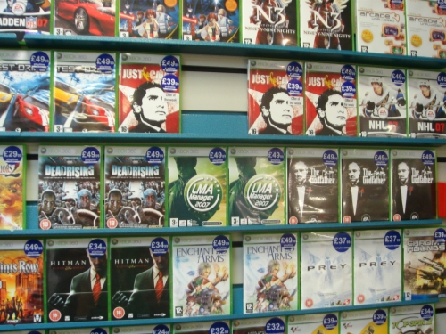 The Xbox 360 version on the shelf in a local video game store, Nottingham (2006)