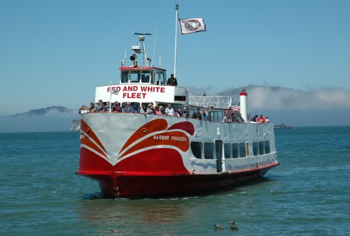The boat which takes tourists around the bay. You get to wear some headphones and listen to a lady telling you about the city and it's history. San Francisco (2007)