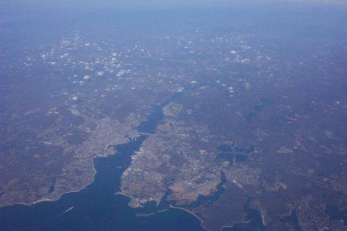A view of the east coast of America ( near Boston ) from the plane just before arriving at JFK, New York (2006)
